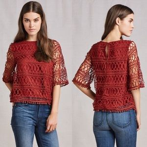 "Tularosa ""Cannes"" crochet lace overlay blouse"
